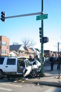 Chicago Fire Department Ambulance 89 traffic crash 74th & Morgan