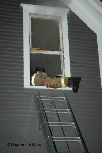 Wheaton house fire on Ellis 6/17/11 firefighter entering window VENT ENTER SEARCH