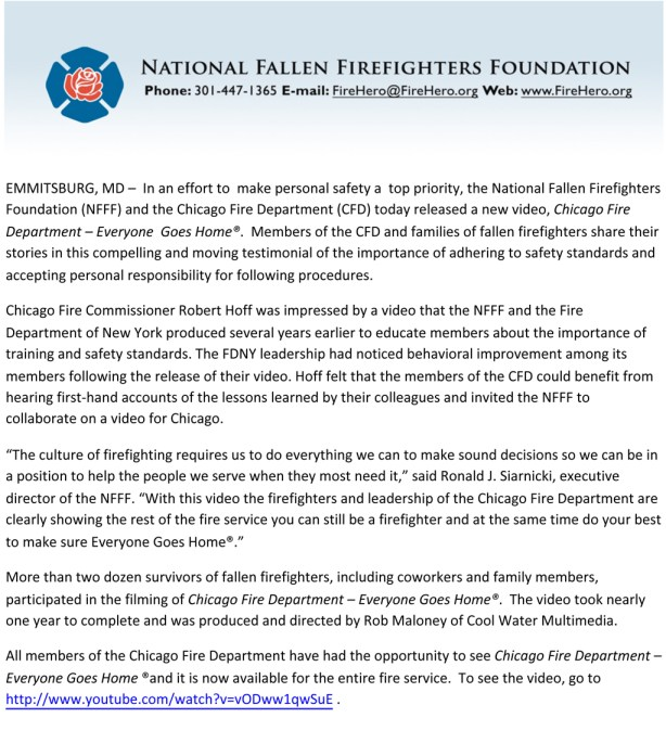 National Fallen Firefighters Foundation and Chicago Fire Department press release
