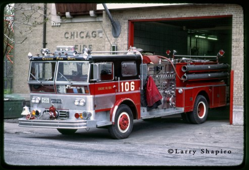 Chicago Fire Department 1970 Ward LaFrance P80 Ambassador engine 106