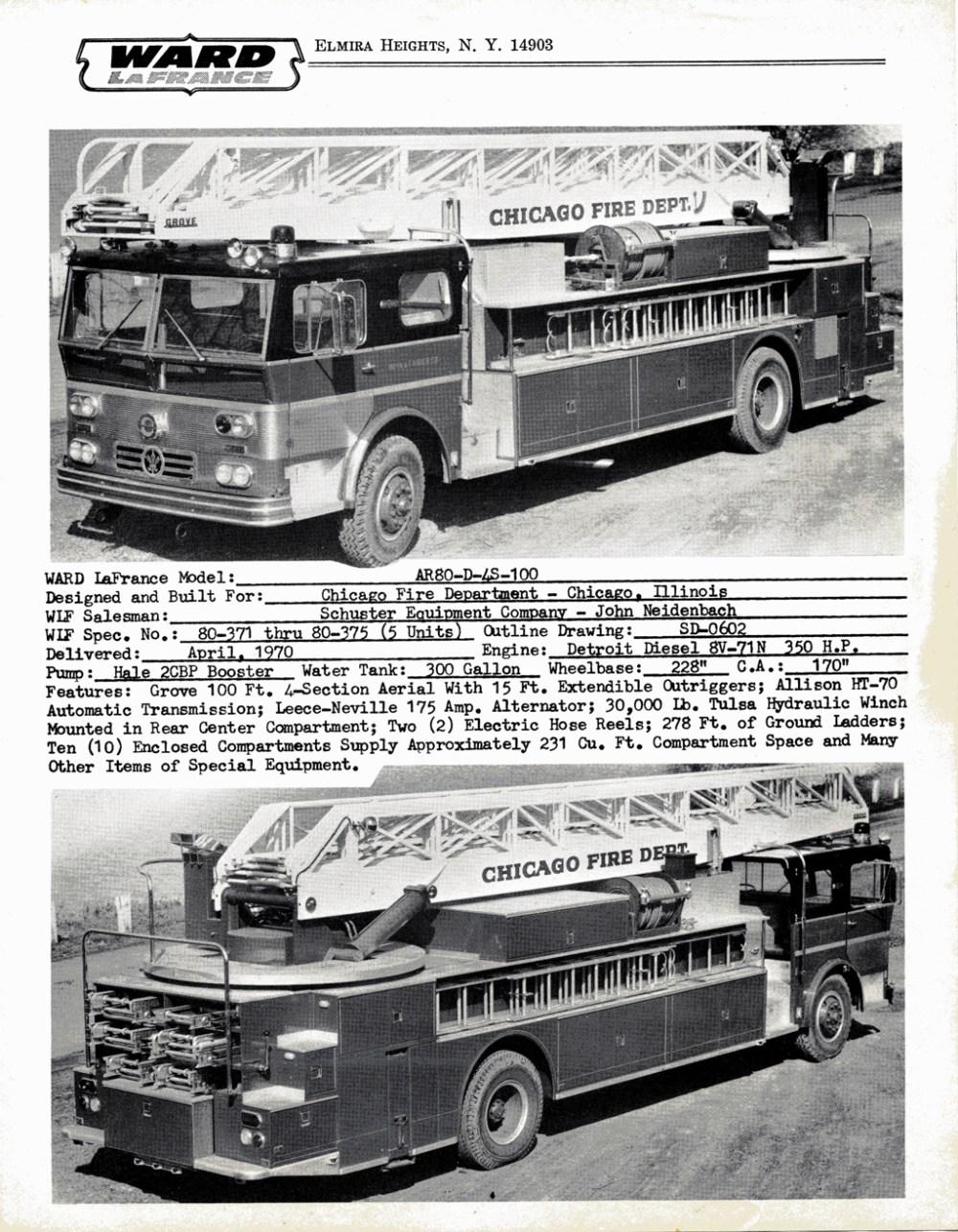 medium resolution of ward lafrance 1970 brochure with chicago ladder trucks
