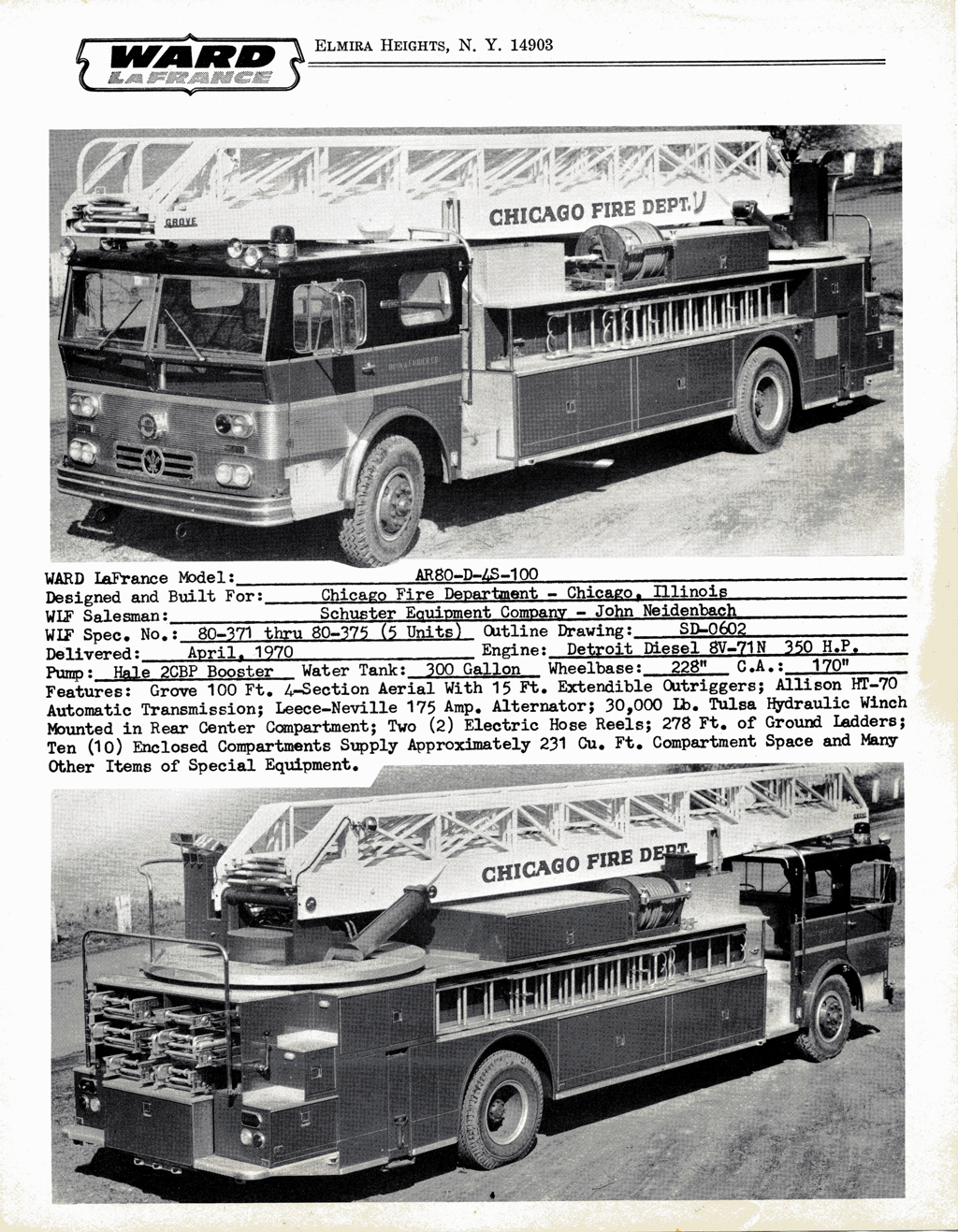 hight resolution of ward lafrance 1970 brochure with chicago ladder trucks