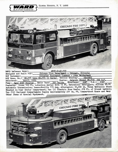 small resolution of ward lafrance 1970 brochure with chicago ladder trucks