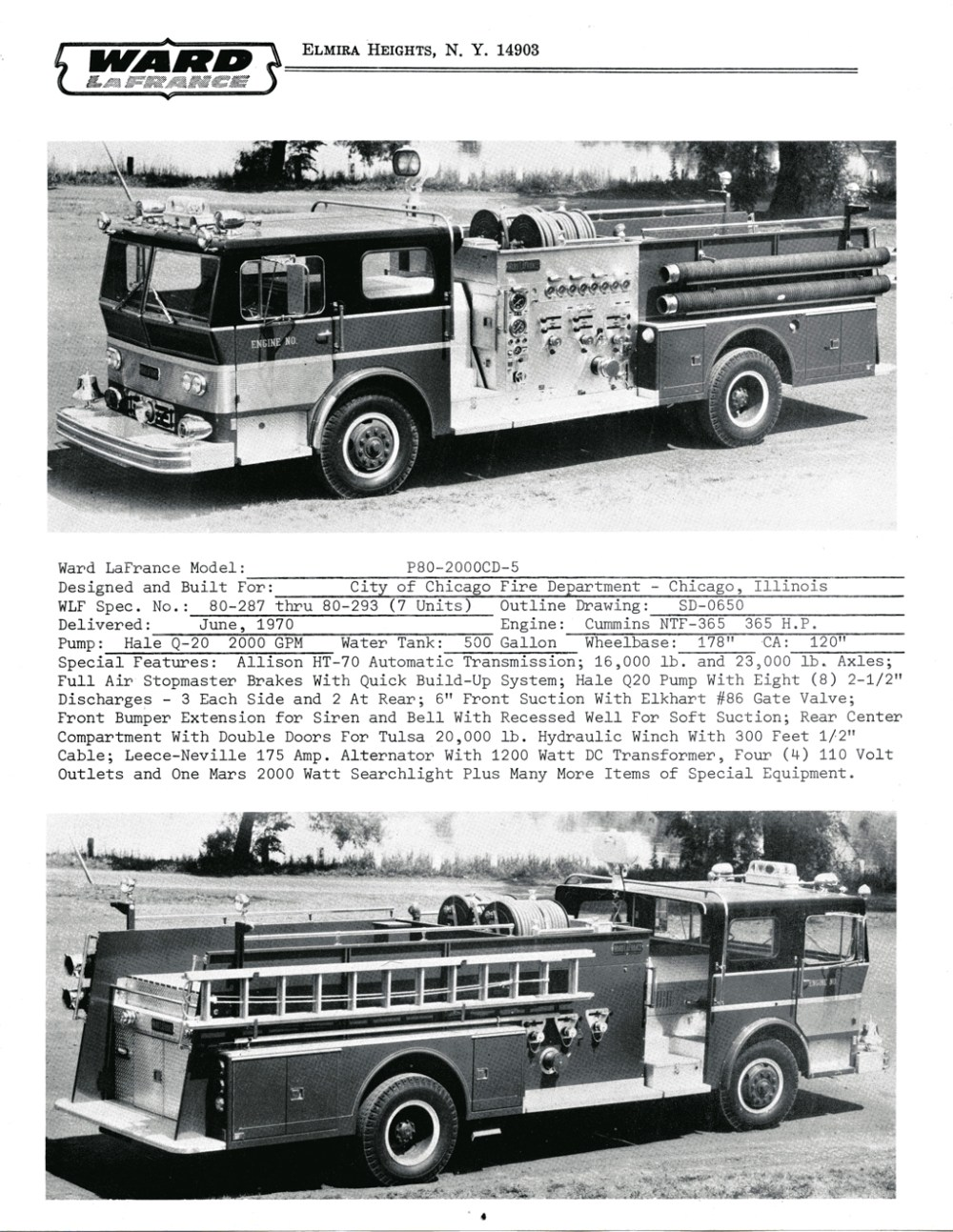 medium resolution of ward lafrance 1970 brochure with chicago engines