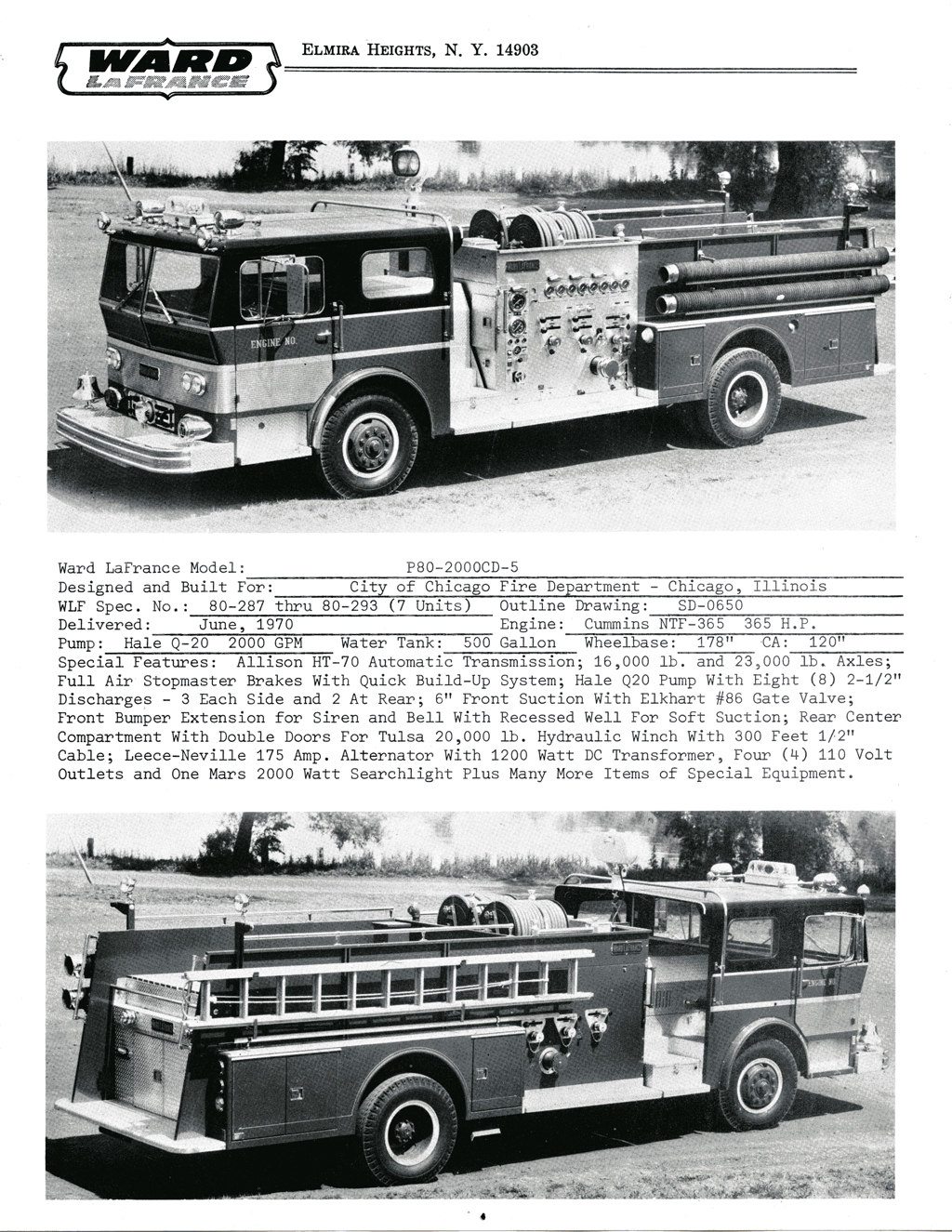 hight resolution of ward lafrance 1970 brochure with chicago engines