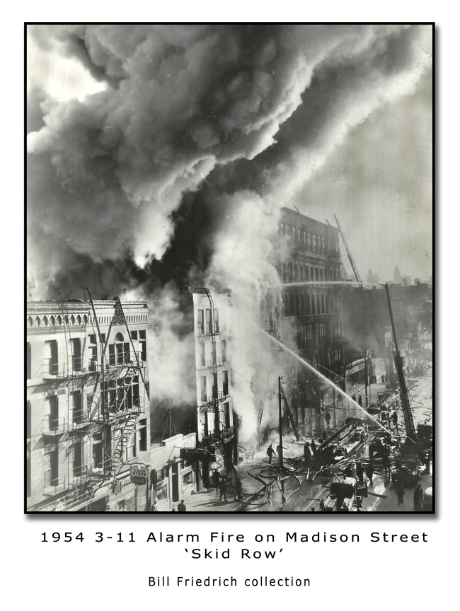 1954 Skid Row fire on Madison Street in Chicago
