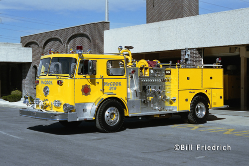 McCook Fire Department yellow Seagrave engine