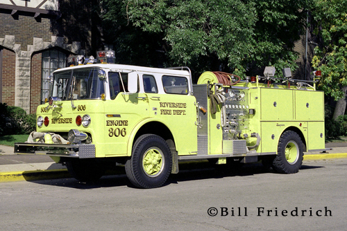 Riverside Fire Department green fire engine