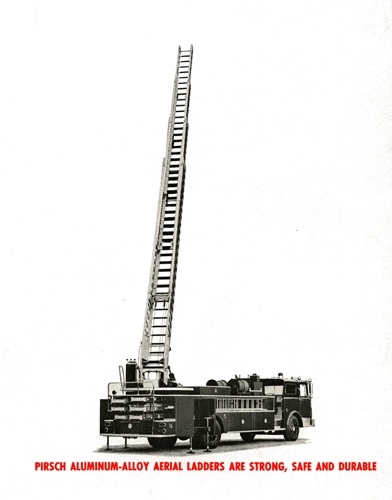 Vintage brochure from Peter Pirsch & Sons Company featuring a Chicago ladder truck