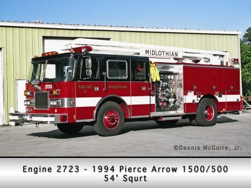 Midlothian Fire Department Engine 2723 Piece squrt