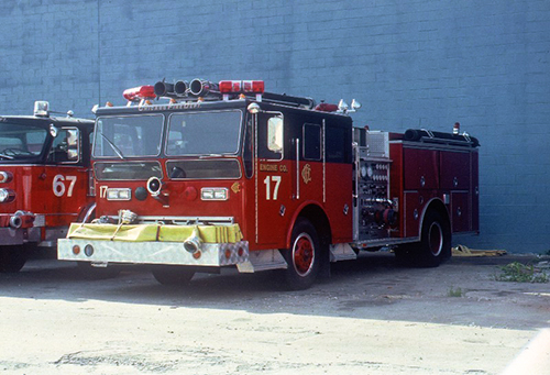 Chicago Fire Department Engine 17 on the set of the movie Backdraft