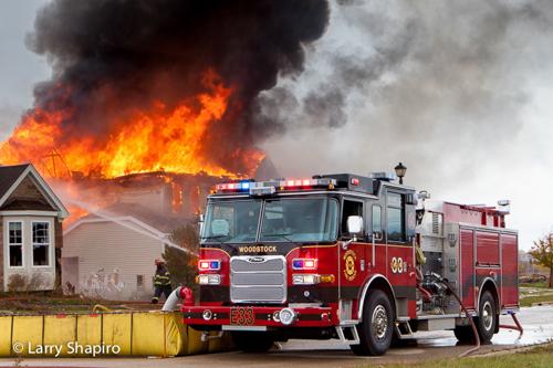 Woodstock Fire Rescue District training fire Pierce Arrow XT engine