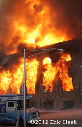 massive flames at Chicago 4-11 Alarm fire at 2444 W. 21st Street 12-29-12