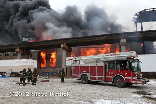 Chicago 4-11 Alarm massive fire at commercial warehouse facility 12-29-12 at 2444 S. 21st Street Snorkel