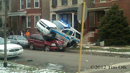 A Chicago Police officer and a civilian were both injured in a crash this afternoon in Logan Square.