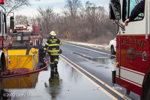 fire scene with water shuttle