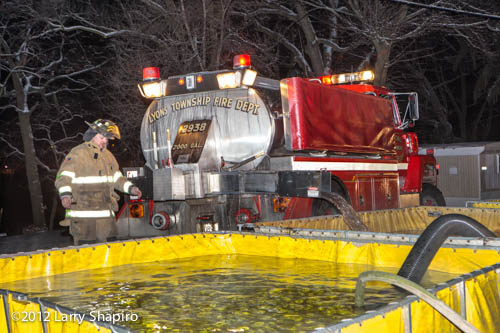 fire tender dumping water into portable tank