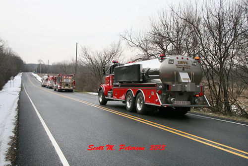 water tanker shuttle at barn fire