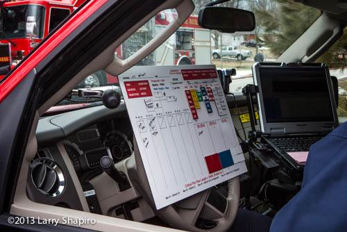 fire scene commander with accountability board