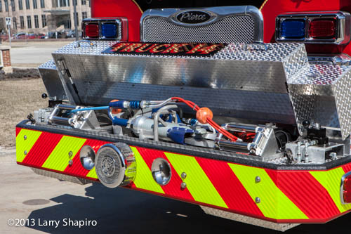bumper mounted hydraulic rescue tools on fire truck