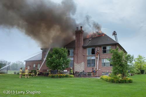 massive house on fire in South Barrington Illinois