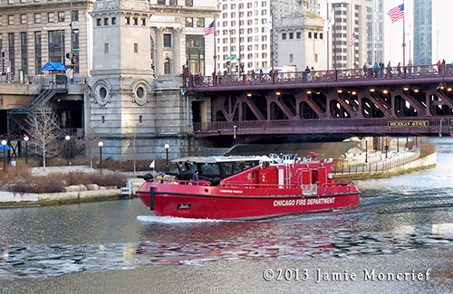 "Chicago Fire Boat ""Christopher Wheatley"" on the Chicago River"