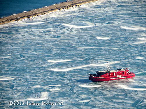 "Chicago Fire Boat ""Christopher Wheatley"" in the winter"
