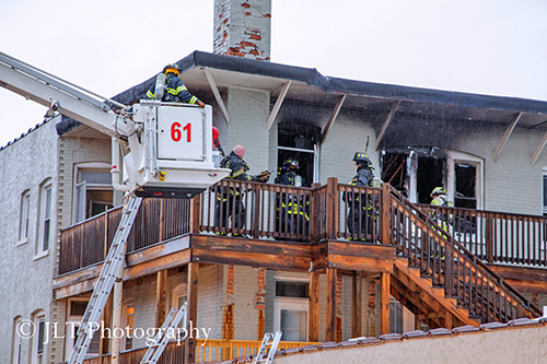 Glen Ellyn fire scene with Snorkel