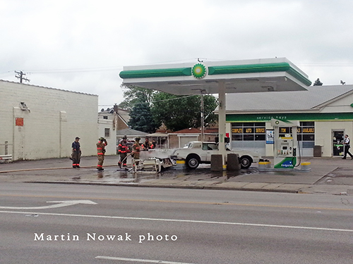car crashes into gas station