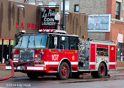 Chicago FD Engine 107 pumping at a fire