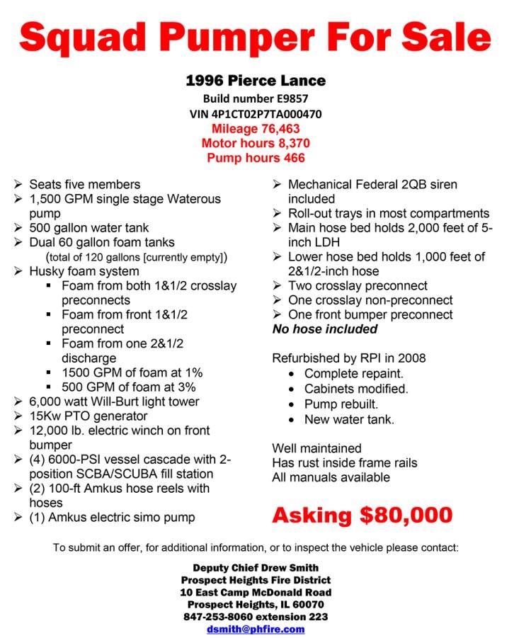1996 Pierce Lance Rescue pumper for sale