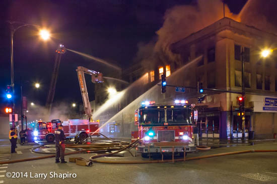 Chicago fire trucks at huge night fire