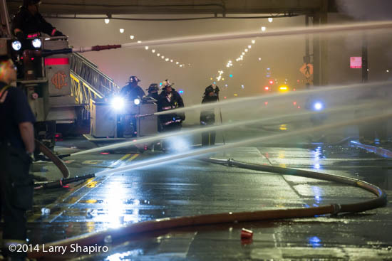 multiple hose streams at night fire scene