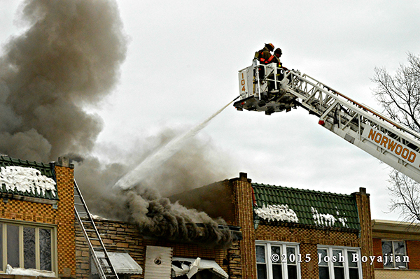 fire through the roof of a business