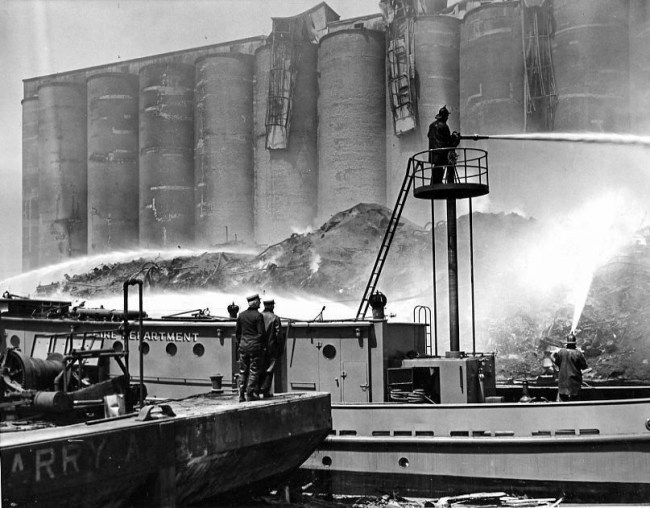 historic Chicago fire scene with fire boats