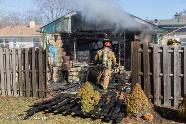 fire gutted a detached garage