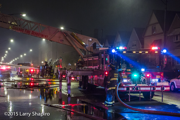 Chicago FD Tower Ladder 21 working at a fire