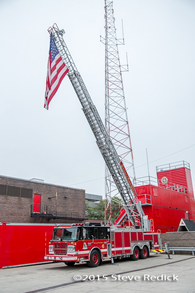 Chicago FD academy ladder truck with American flag