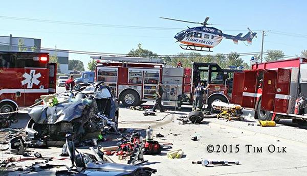 helicopter at scene of horrific crash