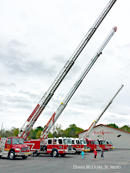 E-ONE aerial ladder trucks on display