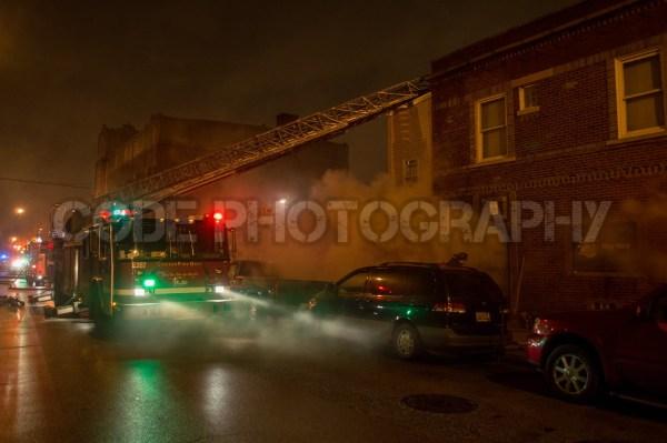 fire truck at night fire scene
