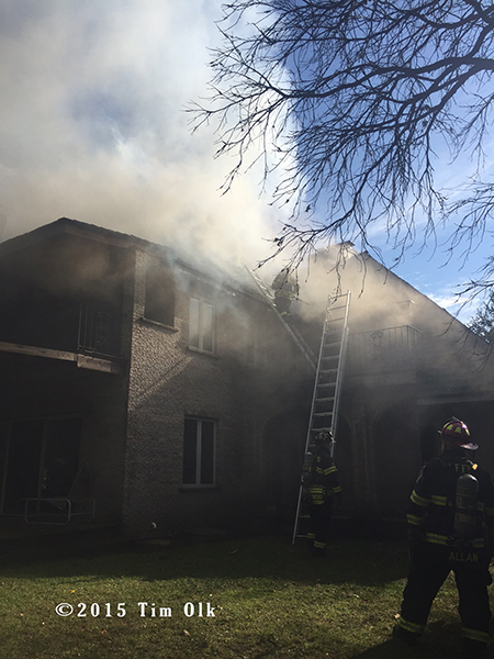 house fire with heavy smoke