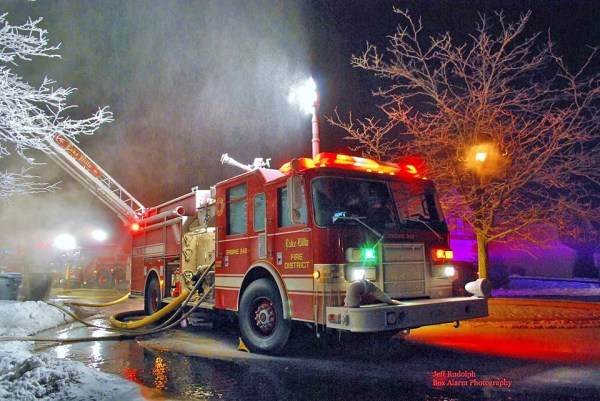 fire engine coated with ice at fire scene