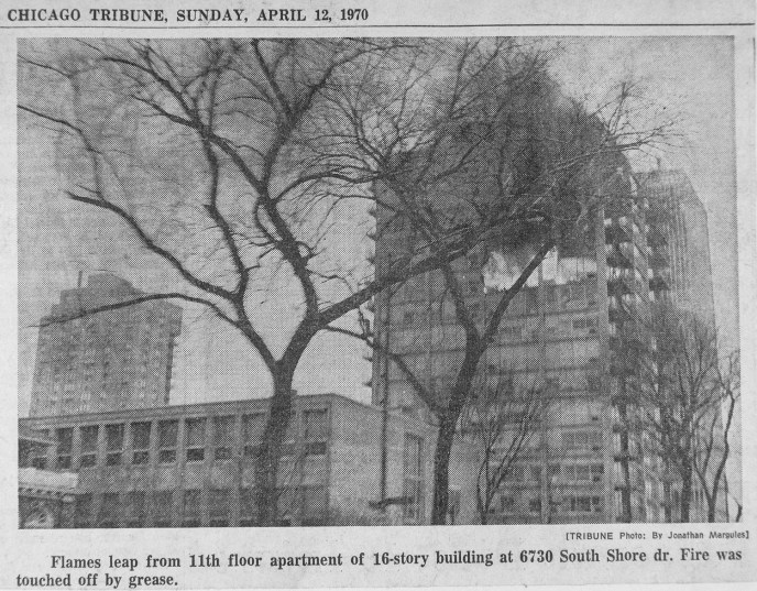 News clipping from a fire in a high-rise apartment building at 6730 South Shore Drive in Chicago, April 12, 1970