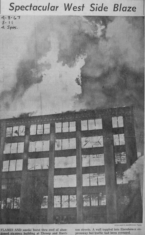 News clipping from a spectacular 5-11 Alarm fire in Chicago at Harrison & Throop in 1967