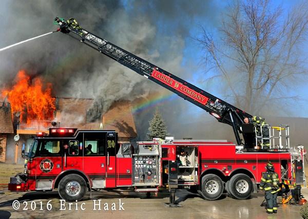 Pierce ladder truck at fire scene
