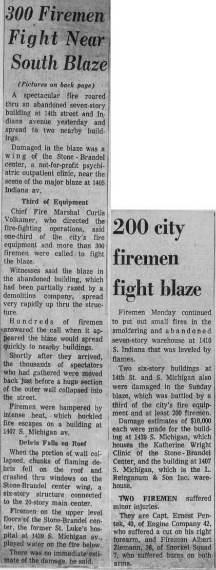 News clipping from a historic Chicago fire