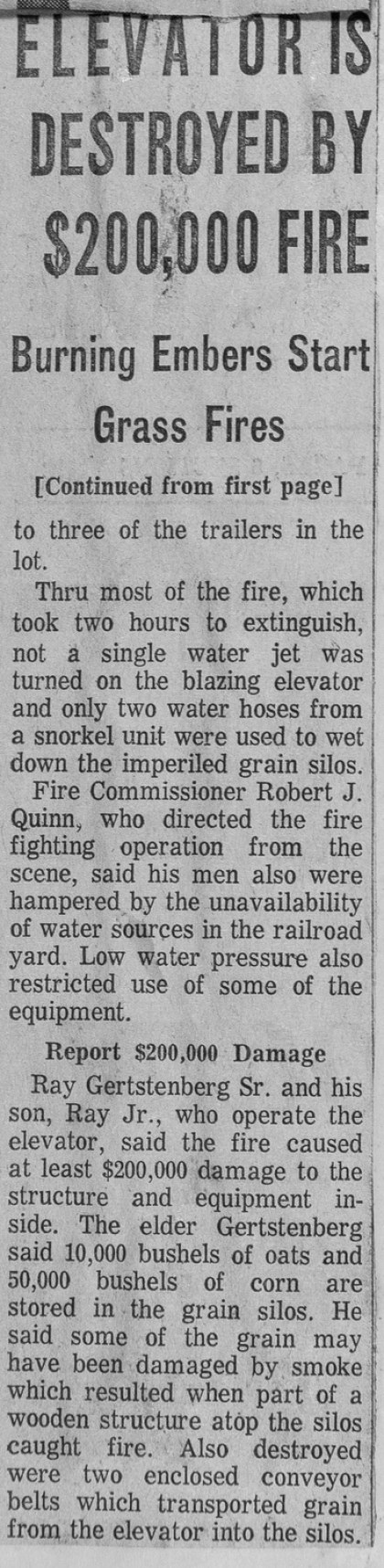 News clipping from an historic fire that destroyed a grain elevator in Chicago