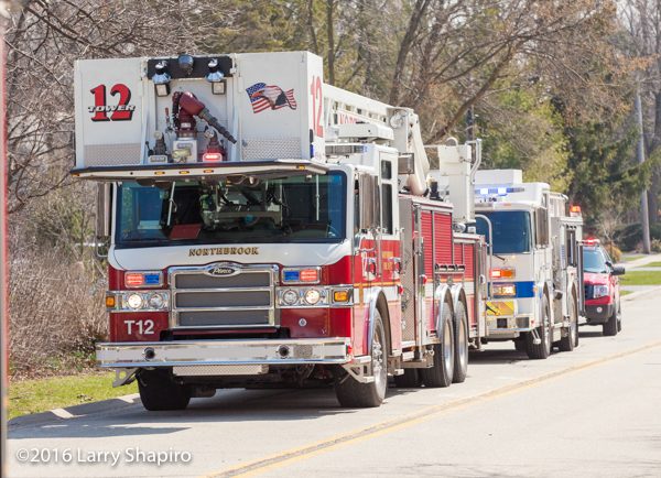 North brook fire truck staged at fire scene