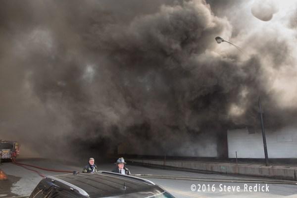 heavy smoke at fire scene